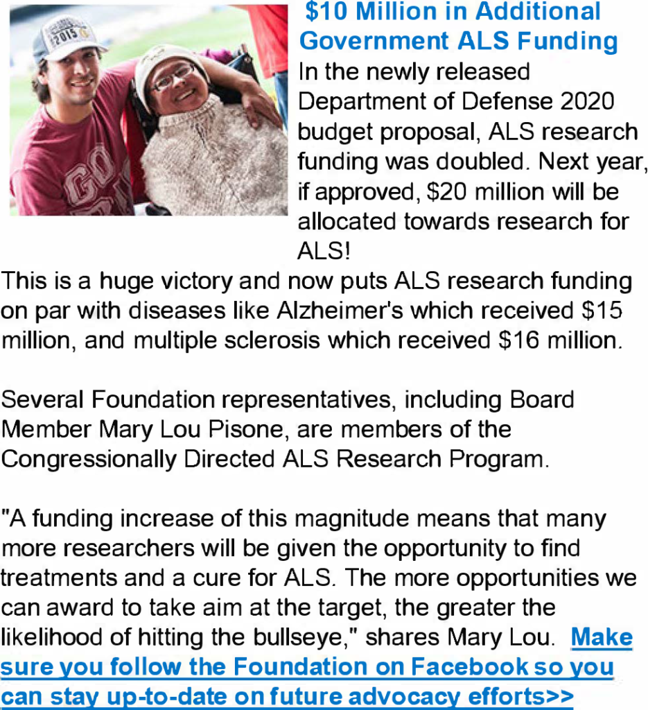 June 2019 Foundation eNews - Les Turner ALS Foundation